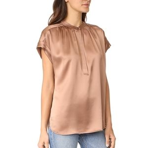 Vince silk shirred neck blouse